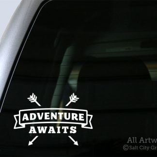 Adventure Awaits (Arrows) Decal in White