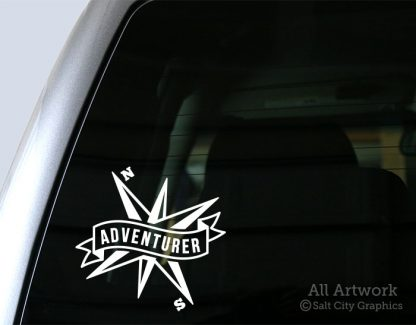 Adventurer Banner with Compass Decal in White