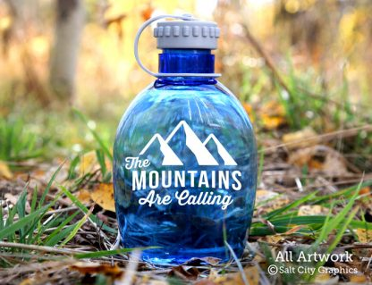 The Mountain Are Calling Decal in White (shown on water bottle)