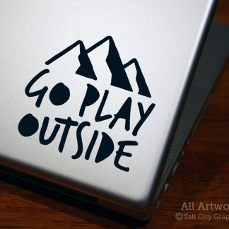 Go Play Outside Decal in Black (shown on laptop)