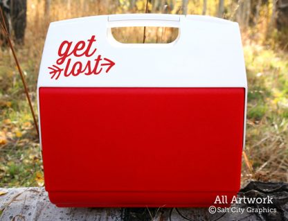 Get Lost Decal in Red (shown on cooler)