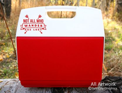 Not All Who Wander Are Lost Decal in Red (shown on cooler)