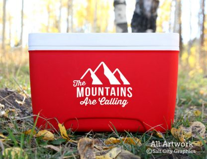 The Mountain Are Calling Decal in White (shown on cooler)