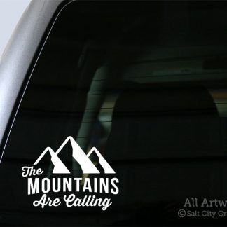 The Mountains Are Calling Decal in White