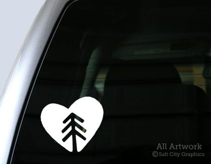Nature Lover Decal (Tree in Heart) in White