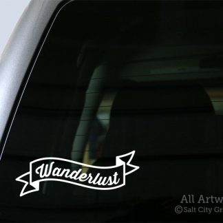 Wanderlust Banner Decal in White
