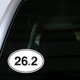 26.2 Marathon Oval Decal (Filled) in White