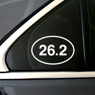 26.2 Marathon Oval Decal in White (shown on car window)