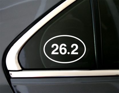 26.2 Marathon Oval Decal in White (shown on car window)
