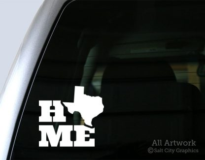 Home Texas Car Decal in white vinyl on truck window