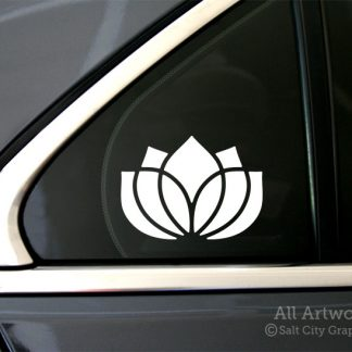 Lotus Flower Decal in White (shown on car window)