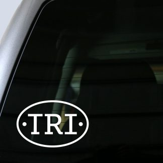TRI (Triathlon) Oval Decal in White