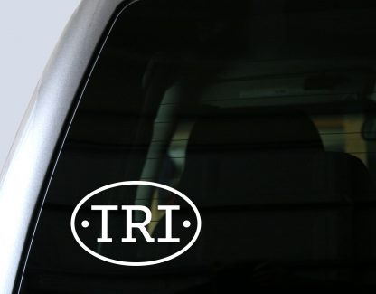 TRI (Triathlon) Oval Decal in White