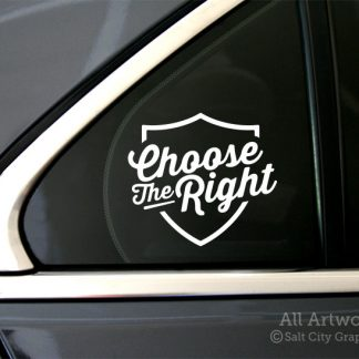 Choose the Right Decal (CTR) in White (shown on car window)