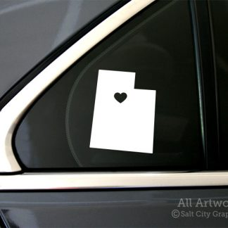 Heart in Utah Decal in White (shown on car window)