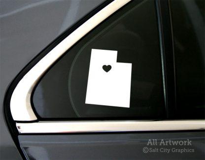 Heart in Utah Decal in White (shown on car window)