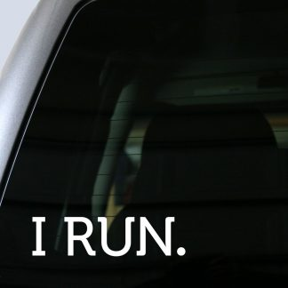 I RUN. Decal in White