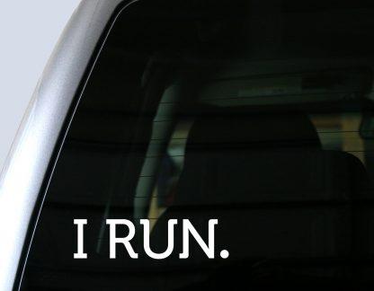 I RUN. Decal in White