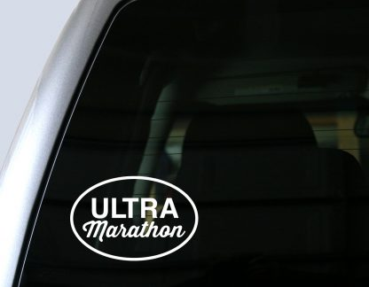Ultra Marathon Oval Decal in White