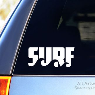 Surf with Waves Decal in White