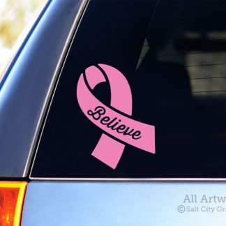 Believe Awareness Ribbon Decal in Soft Pink