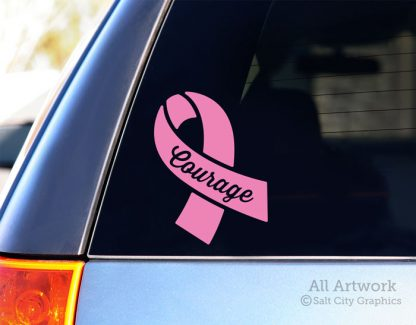 Courage Awareness Ribbon Decal in Soft Pink