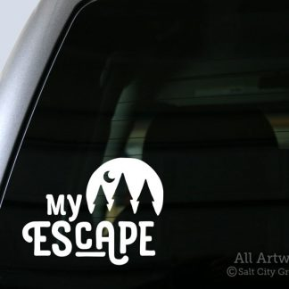 My Escape decal in White (shown on truck window)