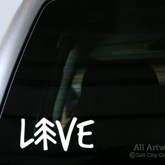LIVE Outdoors decal in White (shown on truck window)