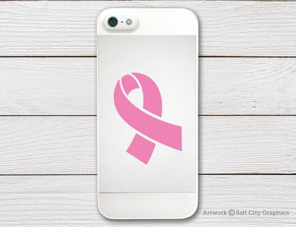 Awareness Ribbon (Breast Cancer) decal in Soft Pink (shown on phone)