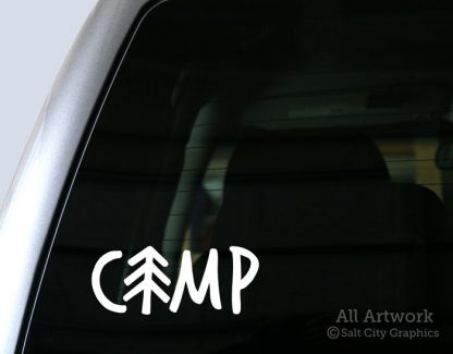 Camp Pine Tree Decal in White (shown on truck window)