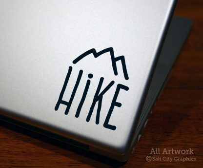 Hike (Mountain) Decal in Black (shown on laptop)