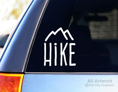 Hike (Mountain) Decal in White (shown on SUV window)