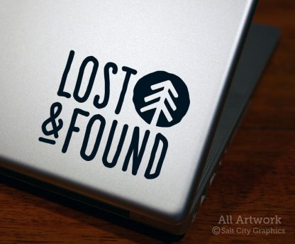 Lost & Found Decal in Black (shown on laptop)