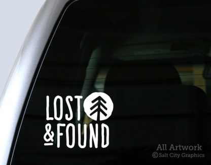 Lost & Found Decal in White (shown on truck window)