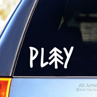 Play Pine Tree Decal in White (shown on SUV window)