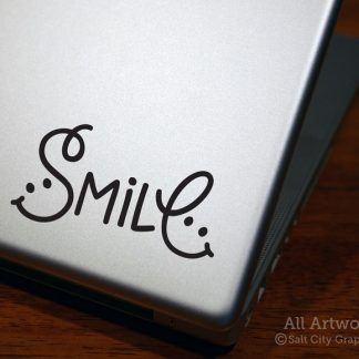 Smile Decal in Black (shown on laptop)