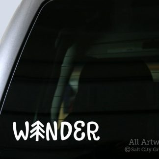 Wander Pine Tree Decal in White (shown on truck window)
