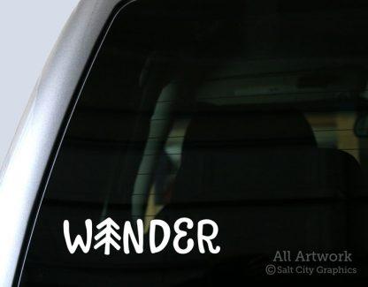 Wander Pine Tree Decal in White (shown on truck window)