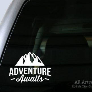 Adventure Awaits (Mountains) Decal in White (shown on truck window)