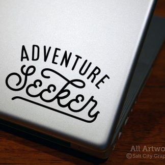 Adventure Seeker Decal in Black (shown on laptop)