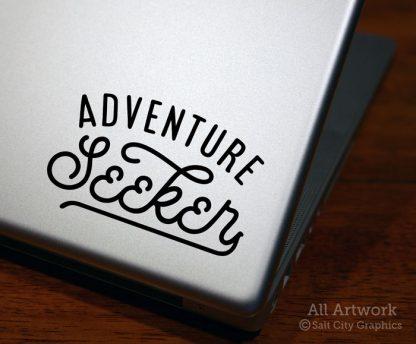 Adventure Seeker Decal in Black (shown on laptop)