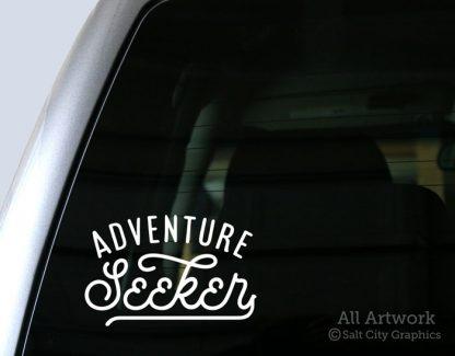 Adventure Seeker Decal in White (shown on truck window)