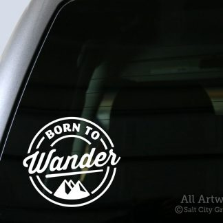 Born to Wander Decal (with Mountains) in White