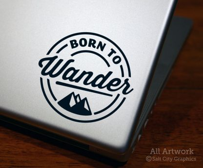 Born to Wander Decal (with Mountains) in Black (shown on laptop)