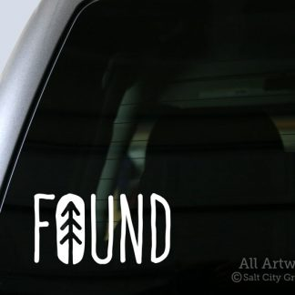 FOUND Decal (with Pine Tree) in White (shown on truck window)