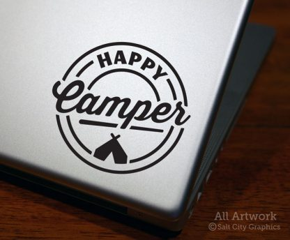 Happy Camper Decal (with Tent) in Black (shown on laptop)