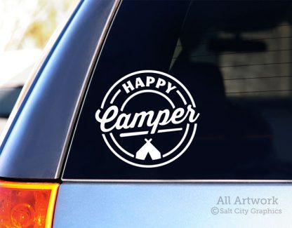 Happy Camper Decal (with Tent) in White (shown on SUV window)