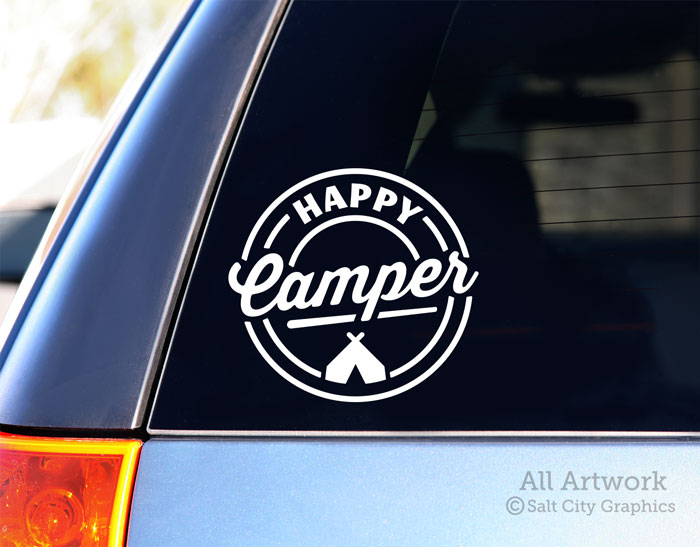 Happy Camper Decal With Tent In White Shown On SUV Window