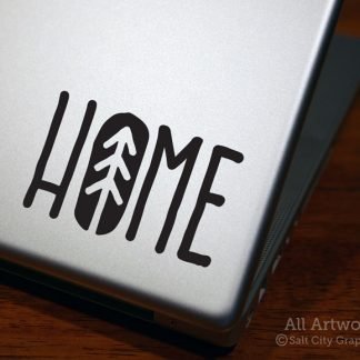 HOME Decal (with Pine Tree) in Black (shown on laptop)