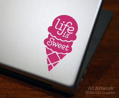 Life is Sweet Decal (Ice Cream Cone) in Dark Pink (shown on laptop)